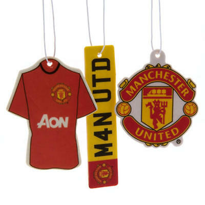 Manchester United Fc 3 Piece Car Air Freshener Kit Set Official Man Utd