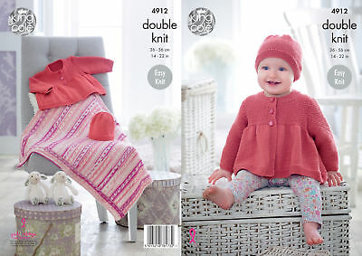Knitting Pattern Easy Knit King Cole Baby Jacket Hat & Blanket DK 4912