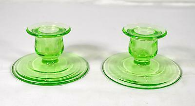 Pair Of 2 Vintage Green Depression/Vaseline Glass Candlestick Holders