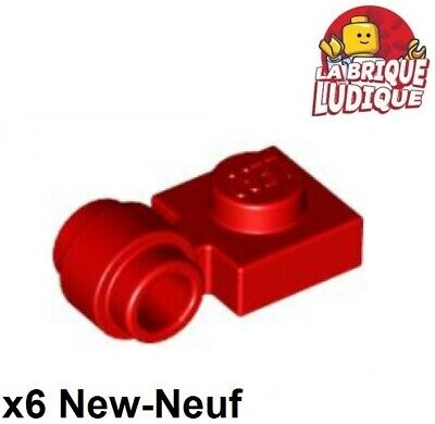Lego - x6 Plate Modified 1x1 clip ring trou anneau rouge/red 4081b NEUF