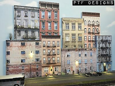 O Scale Scratch Built UP 3D Collage -8 Apartment Building Flats Backdrop - MTH