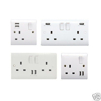 Double Pole 3.1A/2.1A USB Wall Socket Fast Charge Ports 2 Gang UK Power Outlets