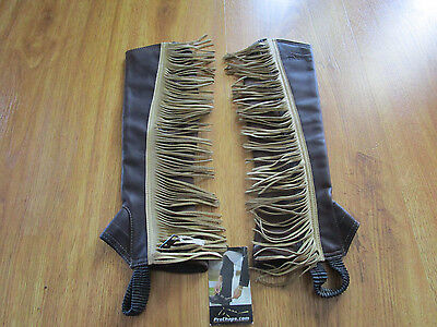 New Pro Chaps Brown Fringe Leather Half Chaps - Adult Size Xxs
