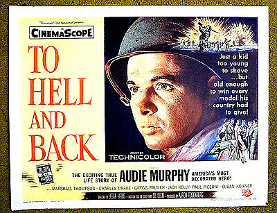 """TRUE STORY of  AUDIE MURPHY  -- """"TO HELL and BACK"""" / original 1955 ROLLED poster"""