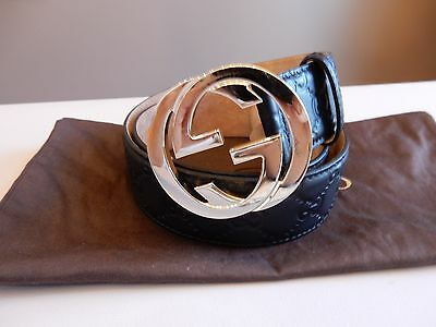 $390 Gucci Black Guccissima leather belt with large gold GG buckle Sz 85, 32, 34