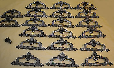 """20 1960's Drawer Pulls Unusual 5.5"""" Wide with 1 1/8"""" Centers Antiqued Look Dark"""