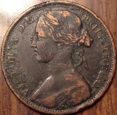 1862 Uk Gb Great Britain One Penny In Better Grade - Corroded