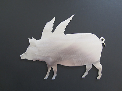 "Pig Flying Metal Steel Silhouette Outline Home Decor Unpainted Art 7"" USA Made"