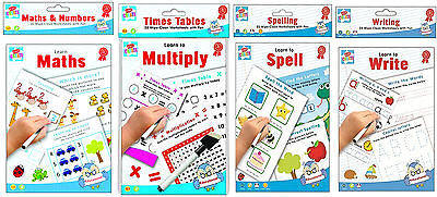 Set Of 4 Wipe Clean Childrens Educational Learning Books Maths Writing Spelling