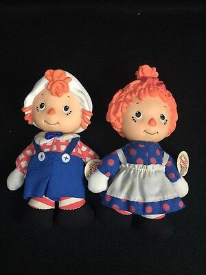 """Set LITTLE RAGGEDY ANN And ANDY 7"""" Doll Vinyl Plush ToyToons Direct Connect VTG"""