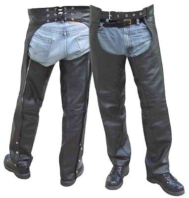 New Silver Bike Black Leather Motorcycle Biker Chaps Size 5xl big + tall $119.50