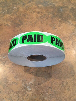 ".625"" X 1.25"" Paid Green Black Labels 1000 Per Roll Great Stickers"