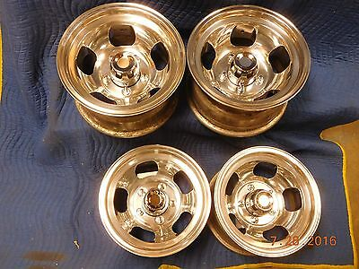 VINTAGE POLISHED 15 x 8.5 SLOT MAG WHEELS FORD TRUCK JEEP 4x4 SAMURI 70's VAN 4
