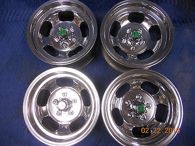 VINTAGE SET 14x7 U.S. INDY POLISHED SLOT MAG WHEELS FORD MOPAR DODGE PLYMOUTH GT