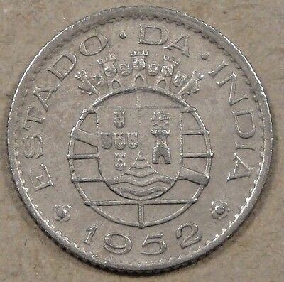 Portuguese India 1952 1/4 Rupee Better Circulated Grade Coin