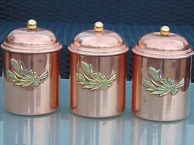 Set 3 Vintage French Copper Flour Pulses Storage Canisters Pots Jars Tin Lined