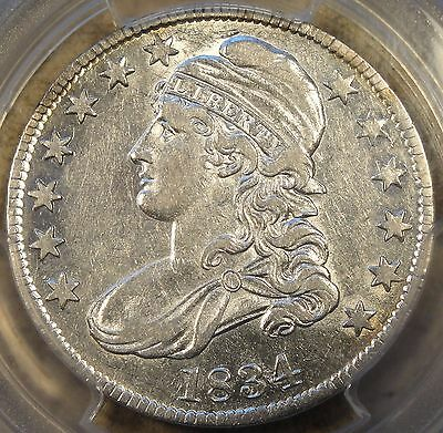 1834 Lg Date Small Letters Bust Half Dollar PCGS AU 50+ POP 1 Oustanding Luster