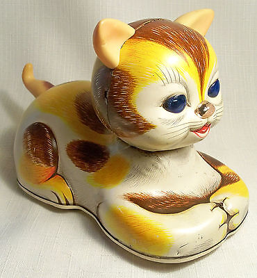 Rare Vtg Battery Operated Modern Toys Tin Non Fall Over Tabby Cat Japan Works