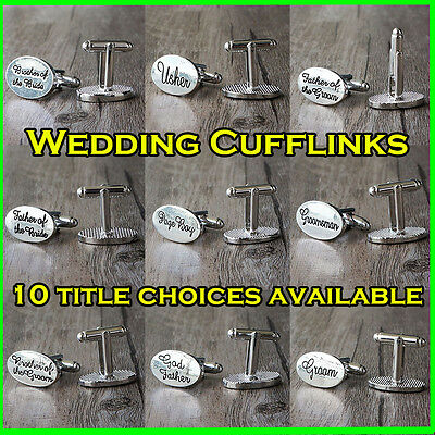 Silver Plated Mens Wedding Cufflinks Sets Cuff Links Groom Best Man Usher Gift a