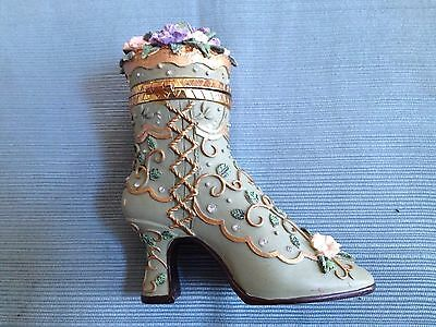 Vintage Victorian Style Trinket Box Lace Up Boot Shoe Floral Design Green