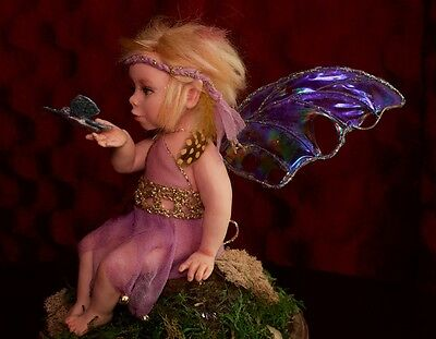 Butterfly Whisperer. Baby Fairy. OOAK polymer clay art doll by ALMA Artistry.