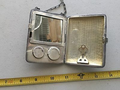 L327 Vintage Sterling Silver Mirror Card Coin Purse Compact Case NICE!