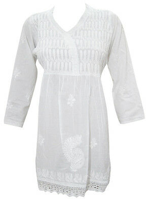 Ethnic Indian White Cotton Tunic Hand Embroidered Short Kurti Beach Dress L