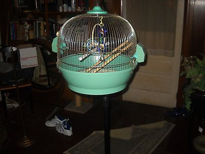 vintage antique peacock bird cage  with orenate stand