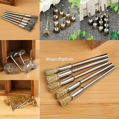 40pc Brass Steel Wheel Pen Cup Wire Brush Set Rust Removal Polishing Rotary Tool