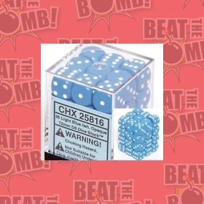 D6 Dice Opaque 12mm Light Blue/white (36 Dice In Display)  - BRAND NEW