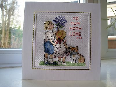 "Completed cross stitch card - children, puppy, flowers, Mum with Love 5.7""x 5.7"""