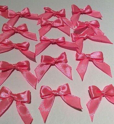 10 Pretty Bright Pink 10mm Ribbon bows 🎀 for card making/scrap booking -charity