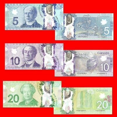 CANADA - $5 $10 $20 - 2012/13 Polymer Set of 3 Uncirculated