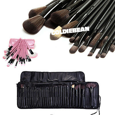 Professional 32pc Pink Kabuki Make Up Brush Set & Cosmetic Brushes Case In Stock