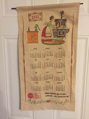 "Rare 1966 Coca-Cola ~ Things Go Better With Coke"" Burlap Hanging Calendar"