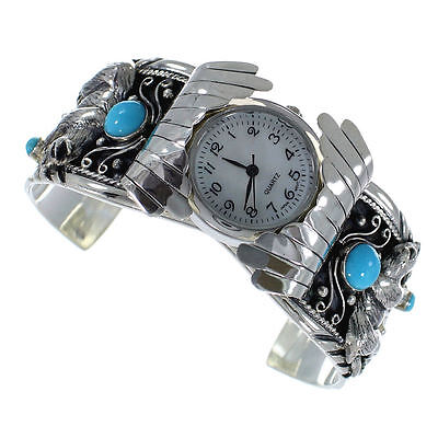 Turquoise Genuine Sterling Silver Southwest Bear Cuff Watch CX48730