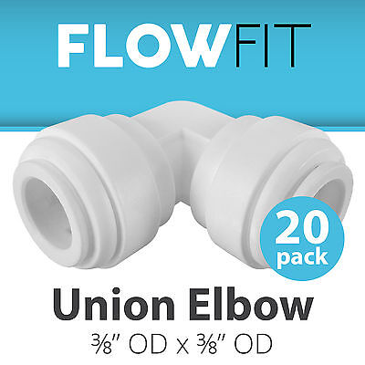 "Express Water 20-Pack Union Elbow 3/8"" x 3/8"" Quick Connect QC RO System Fitting"