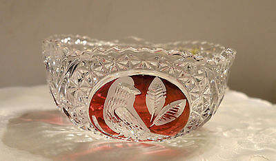 Vintage Hofbauer Bowl - Red / Ruby Byrde / Bird Collection Made In West Germany