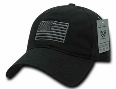 94356c936823e New U.S American Flag Hat Embroidered Patch U.S.A Polo Black Tonal Baseball  Cap