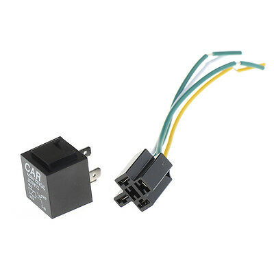 1Pcs 12V 12Volt 40A Auto Automotive Relay Socket 40 Amp 4 Pin Relay & Wires AU