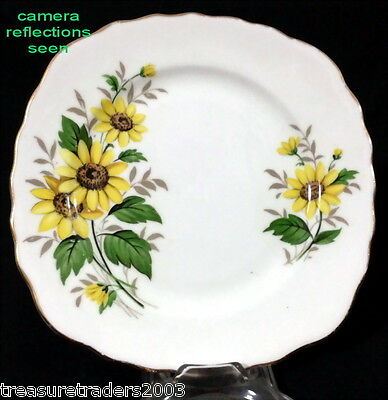♡ Royal Vale Square Side Plate Bright Yellow Daisy Flowers  Bone China England