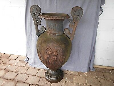 Cast Iron Very Large Antique Two Handle Decorated Urn.