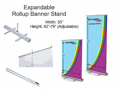 "Expandable Roll Up Banner Stand, 33"" x 42""-79'' w/ Free Shipping"