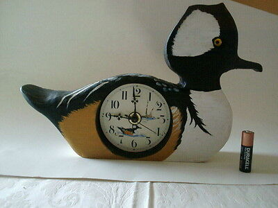 Carved Hooded Merganser Clock Decoy