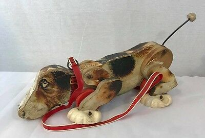 Vintage 1961 Fisher Price SNOOPY Wooden Pull Toy  Dog with Original Leash