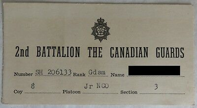 1950's CANADIAN GUARDS 2nd BATTALION ID CARD              (INV13514)