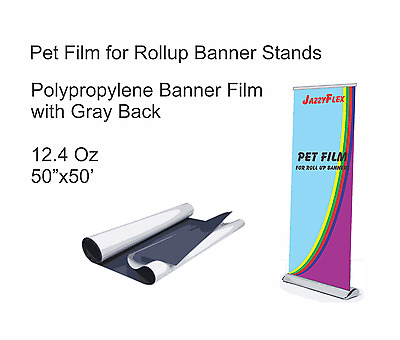 """Pet Film (Polypropylene) for Rollup Stands w/ Gray Back 50"""" x 50', 12.4 Oz"""