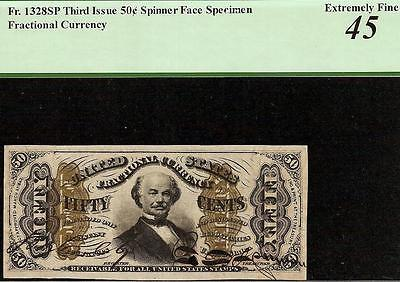 50 CENT HAND SIGNED SPINNER SPECIMEN FRACTIONAL CURRENCY NOTE Fr 1328SP PCGS 45