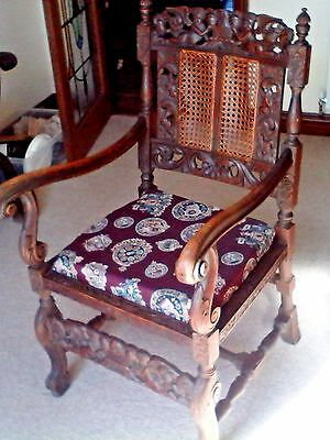 Heavily carved Gothic  Oak Hall chair