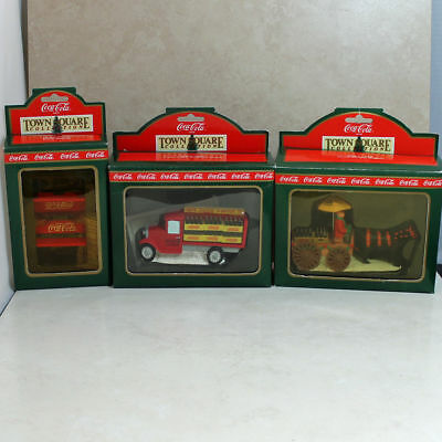 Lot of 3 Coca-Cola Town Square Village Truck/Wagon/Benches in Boxes